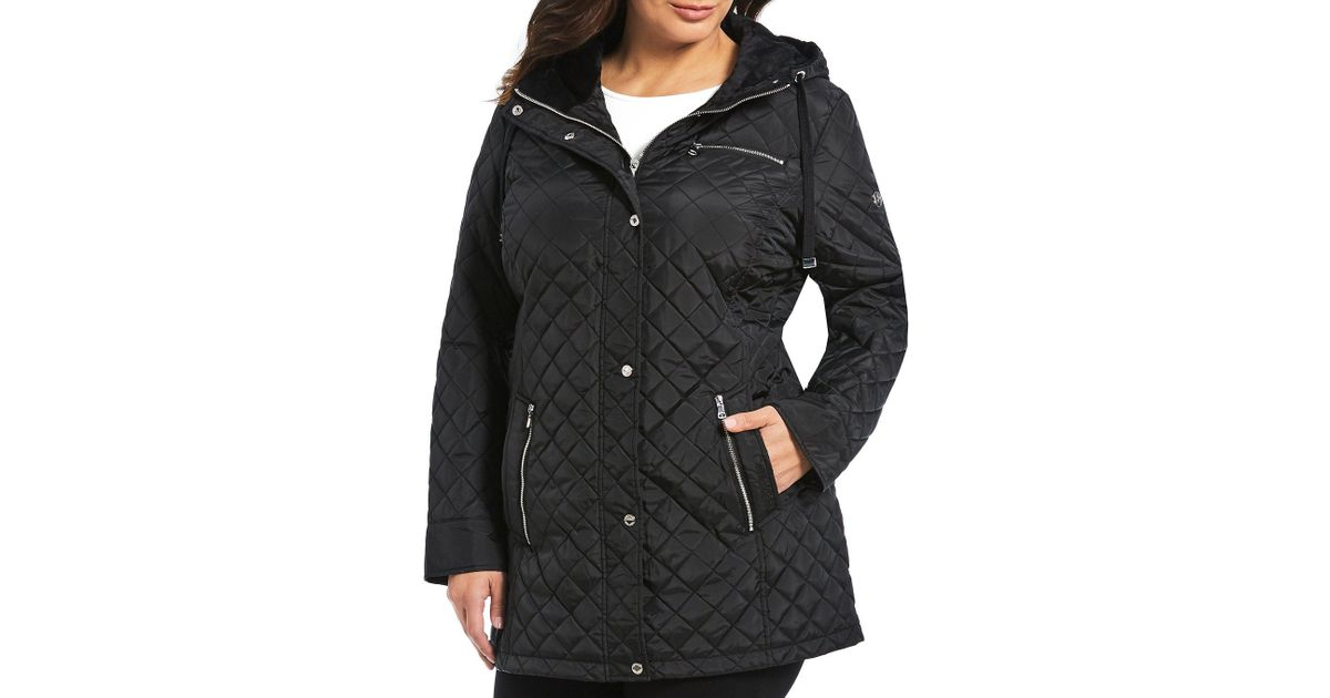 8a73ed75e521c Lyst - Calvin Klein Plus Size Single Breasted Hooded Quilted Coat in Black