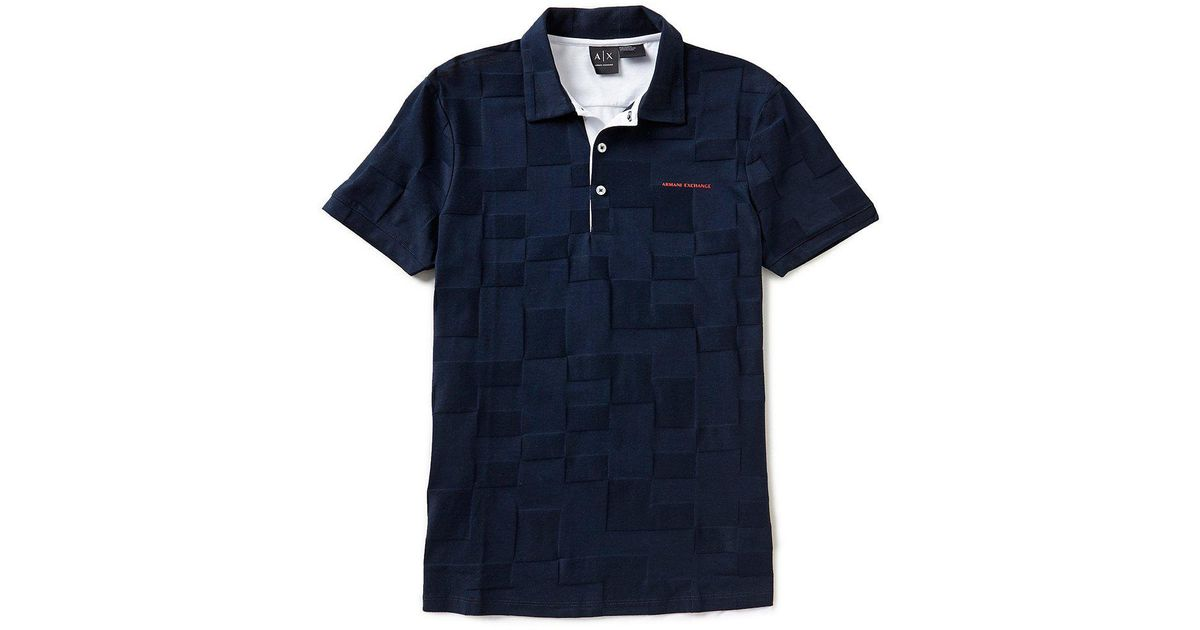 ac25b13a Lyst - Armani Exchange Checkered Tonal Short-sleeve Polo Shirt in Red for  Men