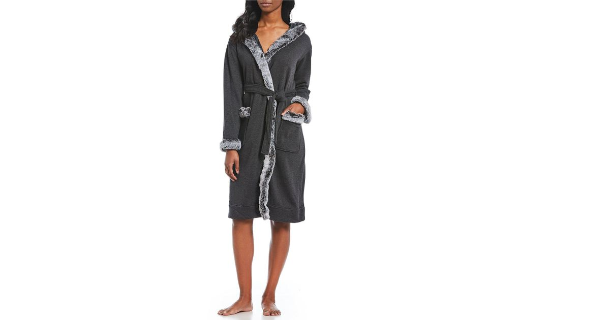 9f800020fe Lyst - UGG W Duffield Deluxe Ii Faux-fur Double Knit Fleece Hoodie Wrap Robe  in Black