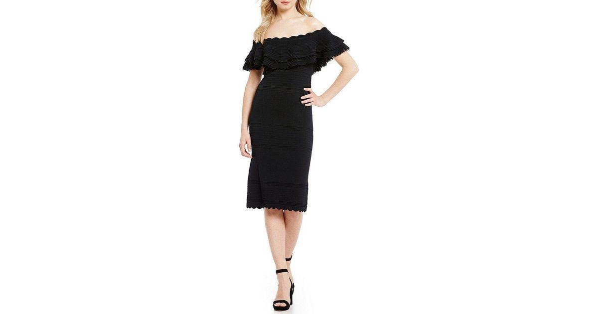 59fd2e491ed1 Eliza J Off-the-shoulder Ruffle Sheath Dress in Black - Lyst