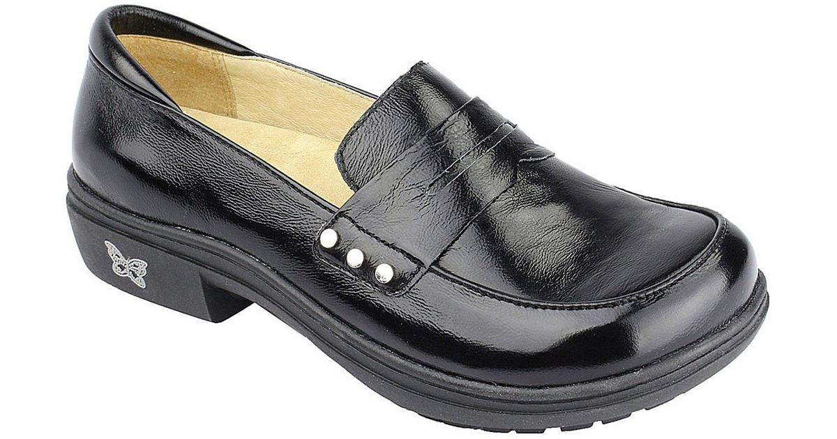 d8c8188519c Lyst - Alegria Taylor Stain-resistant Leather Penny Loafers in Black