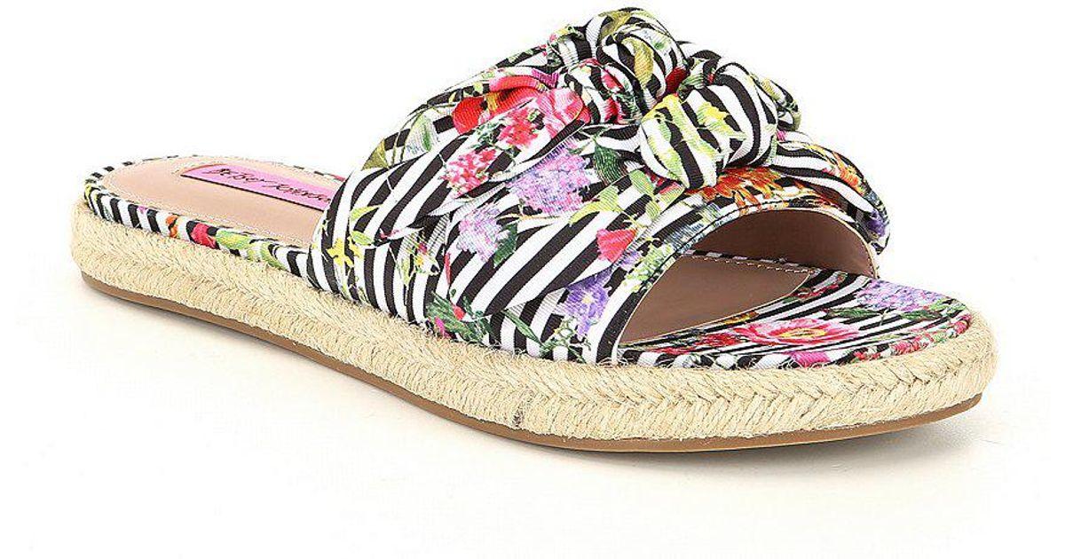 Betsey Johnson Jazzy Knotted Stripe Floral Print Espadrille Slide Sandals c7etsqtJ