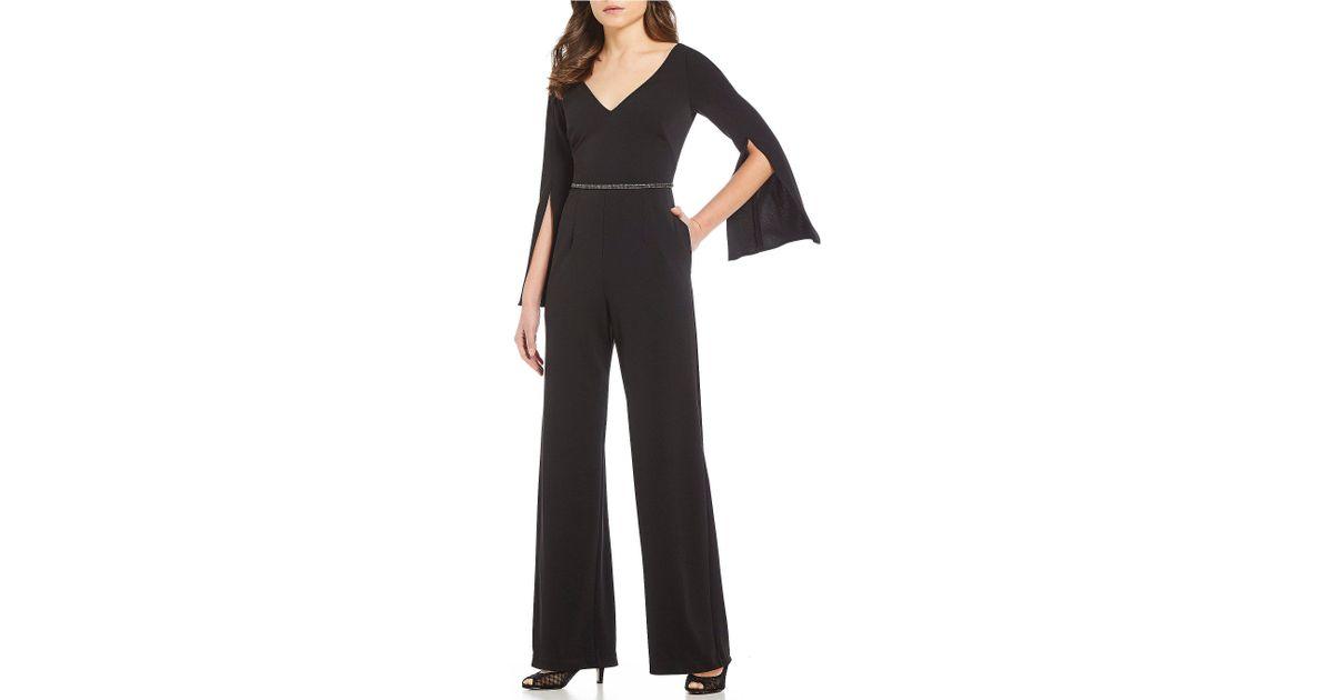 Lyst Adrianna Papell Petite Size V Neck Long Split Sleeve Jumpsuit