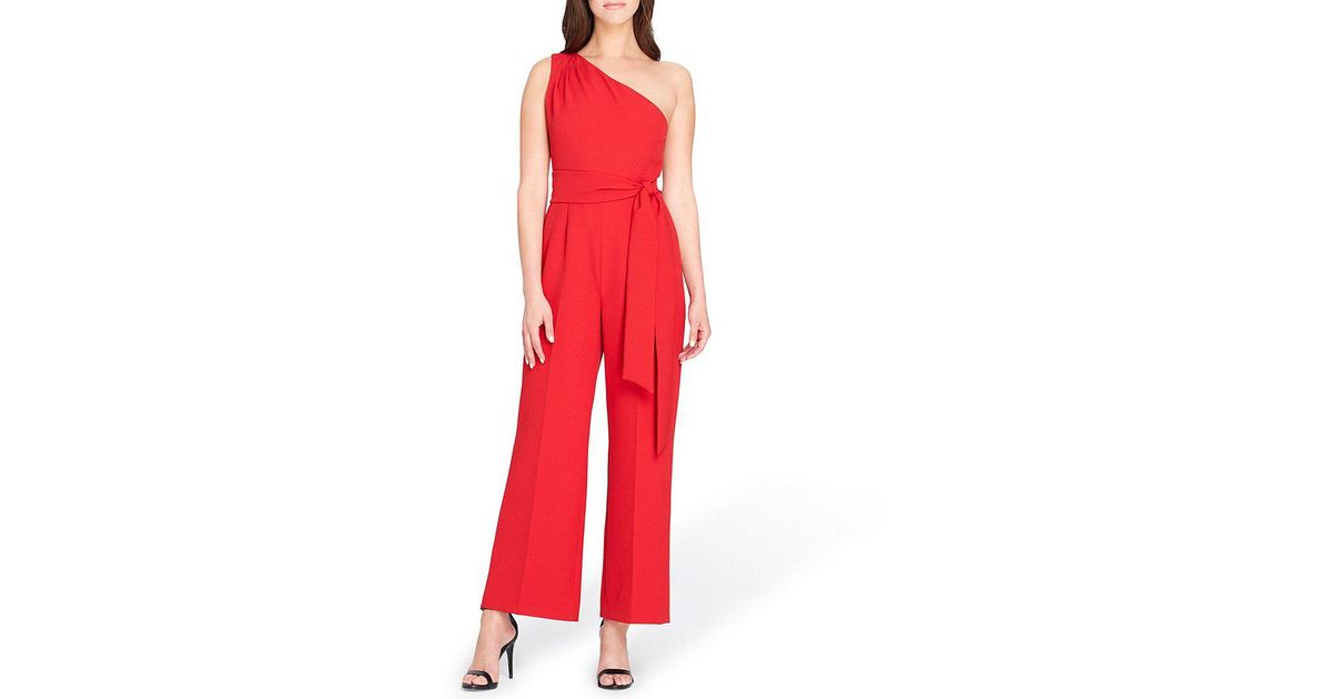 b13784a232d Lyst - Tahari One Shoulder Crepe Jumpsuit in Red
