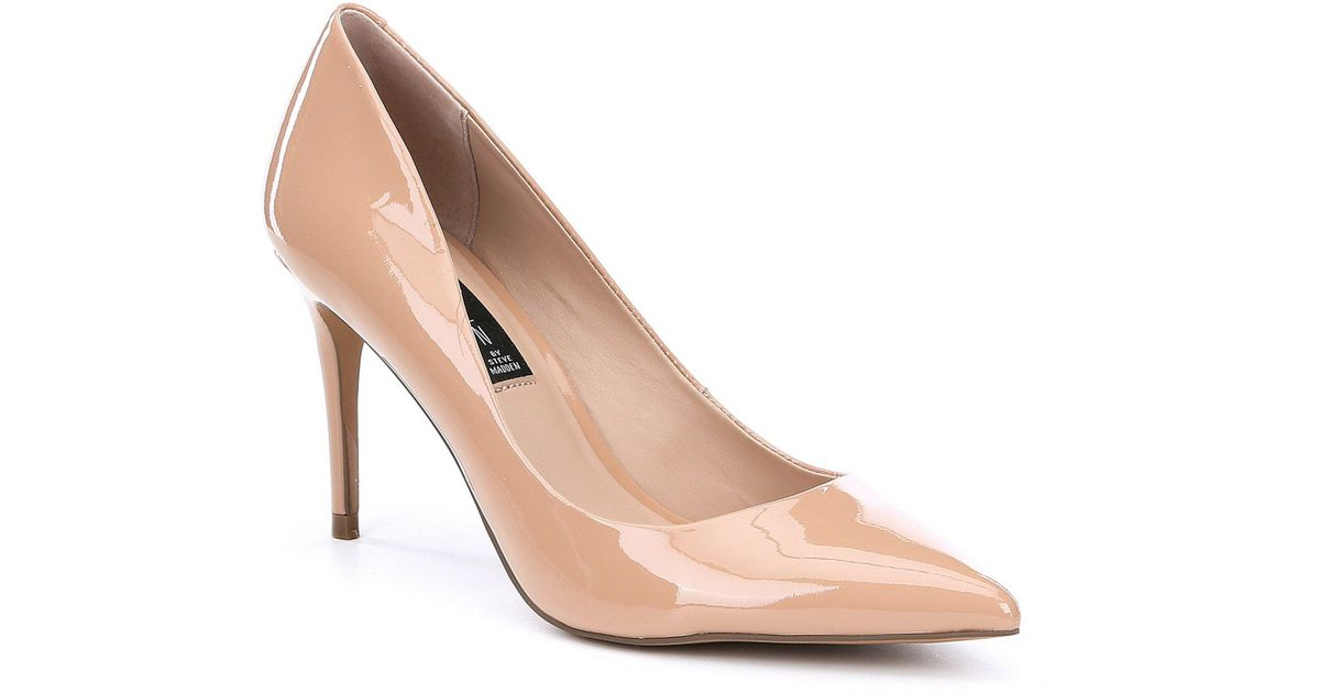 6969cedb69 Steve Madden Steven By Local Patent Leather Pointed Toe Pumps in Natural -  Lyst
