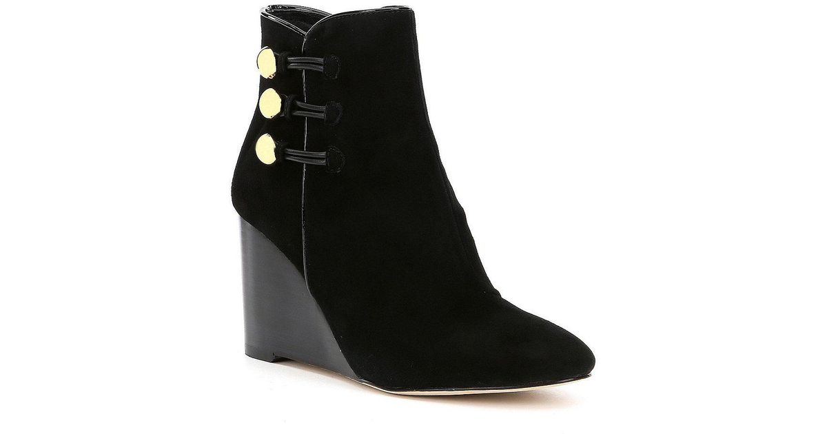 a2416fd0d2e Lyst - Kate Spade Geraldine Wedge Booties in Black