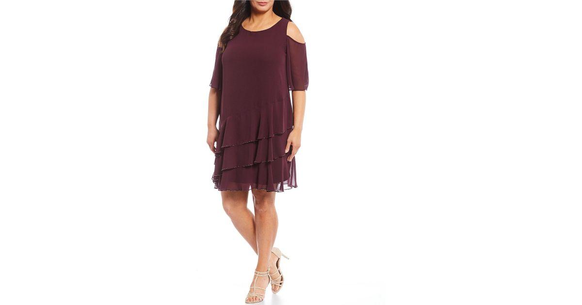 cb3c478b70 Marina Plus Size Chiffon Cold Shoulder Tiered Dress in Purple - Lyst