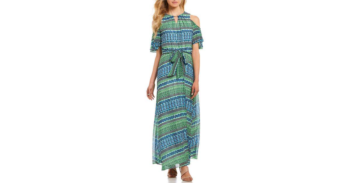 df24b8138 Lyst - Calvin Klein Tile Stripe Print Halter Neck Cold Shoulder Ruffle Trim Maxi  Dress