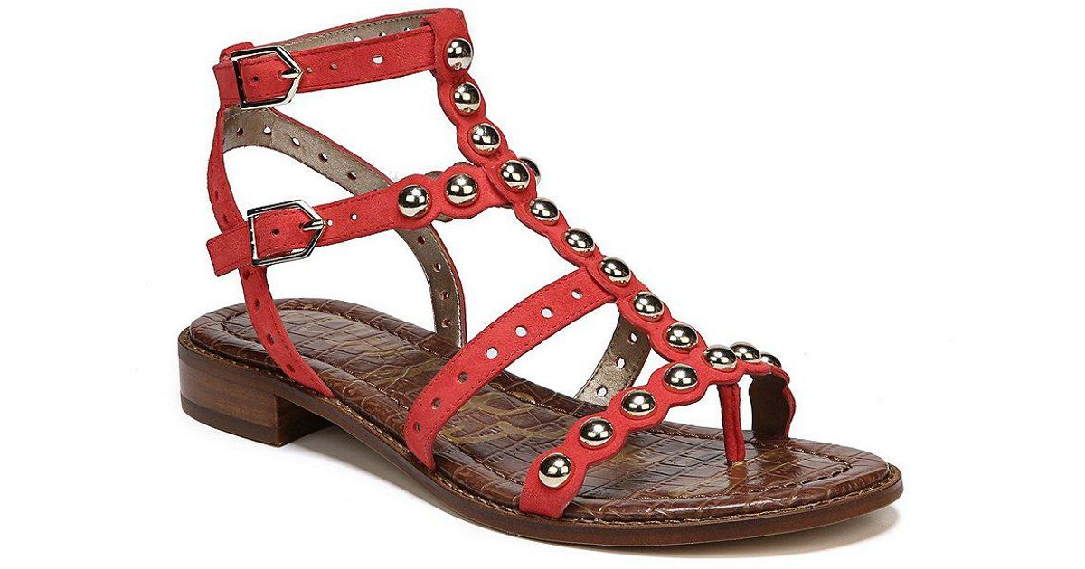 Elisa 2 Pearl Detail Patent Leather Gladiator Sandals
