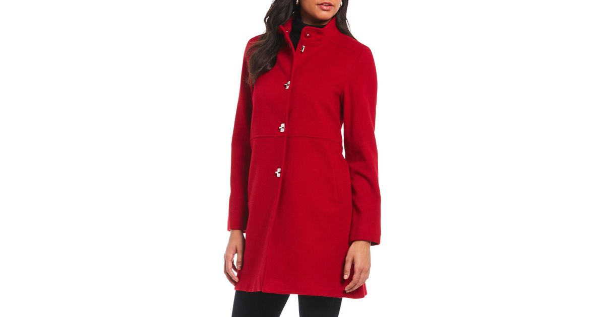 187749ac7612 Katherine Kelly Classic Stand Collar Single Breasted Wool Coat in Red - Lyst