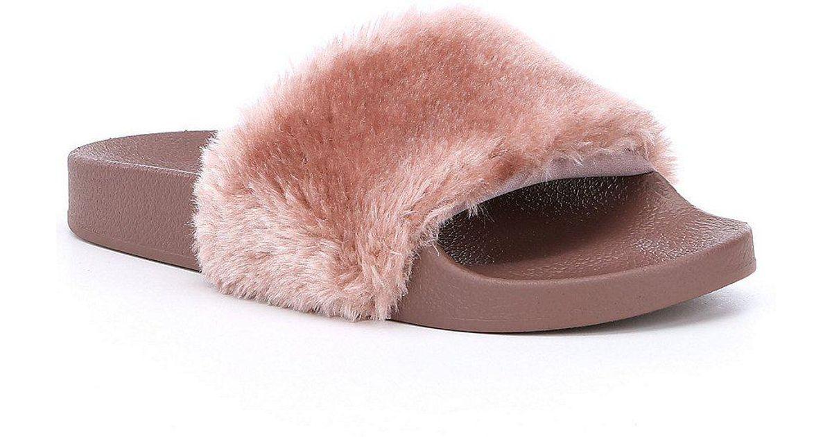 84dad72b30c Lyst - Steve Madden Softey Faux Fur Slide-on Sandals in Purple