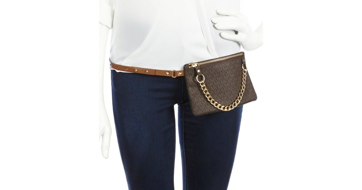 8b6839d15e6c Lyst - Michael Kors Belt Bag With Pull Chain in Natural