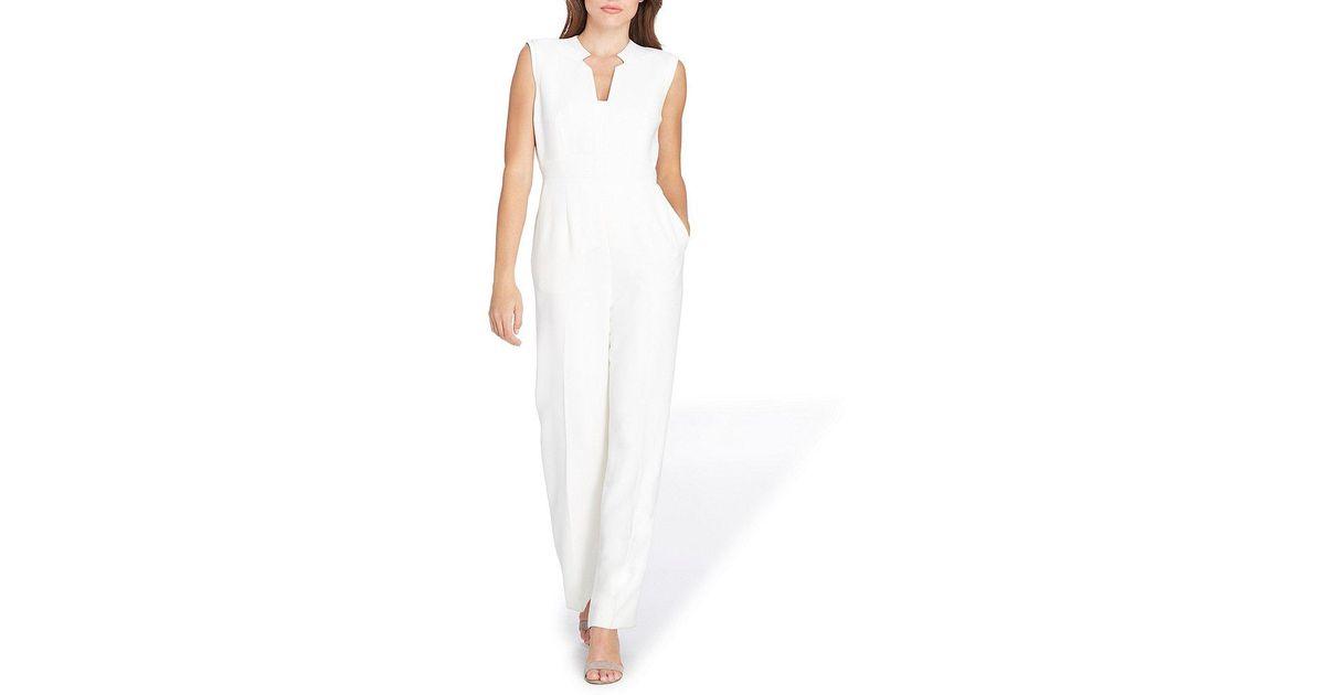 8b0ef7c0520a Lyst - Tahari Petite Raised Collar Sleeveless Solid Crepe Jumpsuit in White
