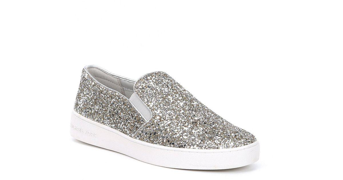 c6570ba795de Lyst - MICHAEL Michael Kors Keaton Glitter Slip On Sneakers