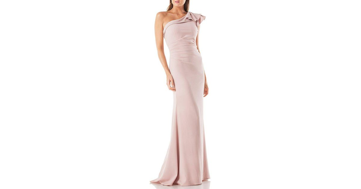 0198f30a8109 Carmen Marc Valvo Infusion One Shoulder Cascading Ruffle Cocktail Dress in  Pink - Lyst