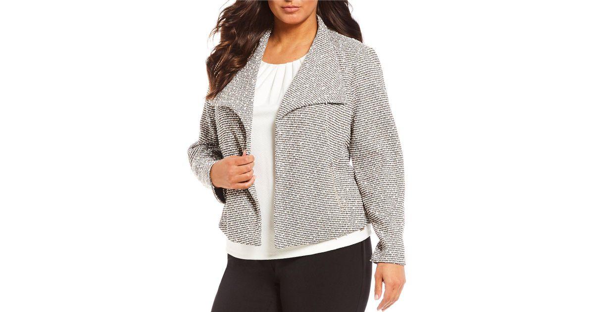 35e45ed352 Lyst - Calvin Klein Plus Size Open Front Flyaway Jacket in Pink
