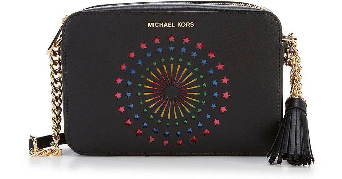 Lyst - MICHAEL Michael Kors Ginny Perforated Cross-body Bag in Black 1c7d995ba