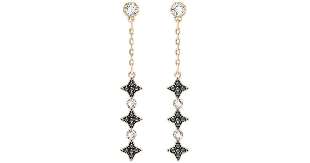 8d333b99e Lyst - Swarovski Halve Crystal Linear Drop Earrings in Metallic
