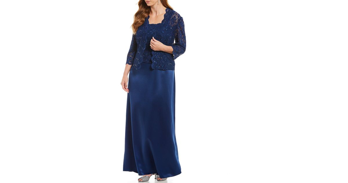 81f941afd10 Lyst - Alex Evenings Plus Size Long Lace A-line Jacket Dress in Blue