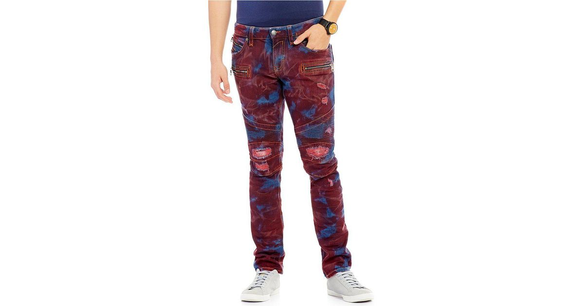 67c2d131b73 Rock Revival Skinny-fit Tie-dye Denim Motorcycle Jeans for Men - Lyst