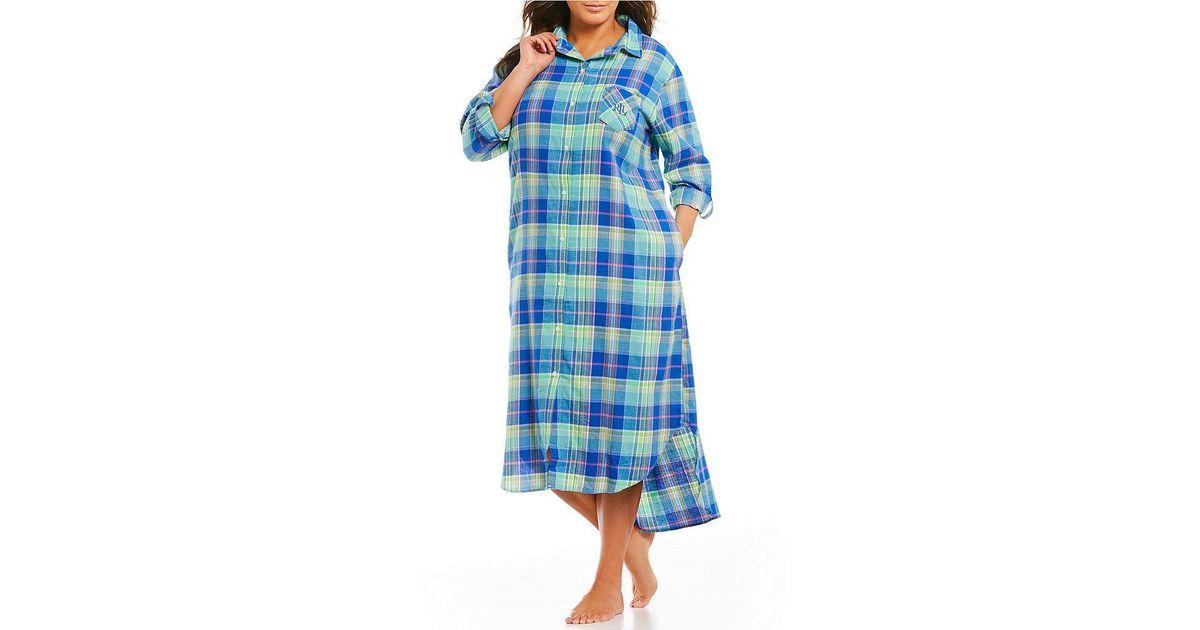Lyst - Lauren By Ralph Lauren Plus Plaid Brushed Twill Maxi Sleepshirt in  Blue aa3f643e7