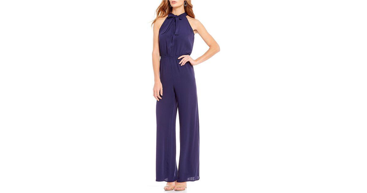 7025a350ea28 Lyst - Cece Crepe Tie Neck Jumpsuit in Blue