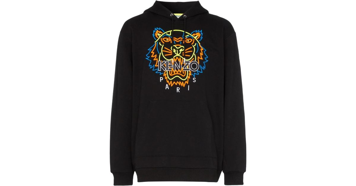 2bc631edf KENZO Neon Tiger Embroidery Hoodie in Black for Men - Lyst