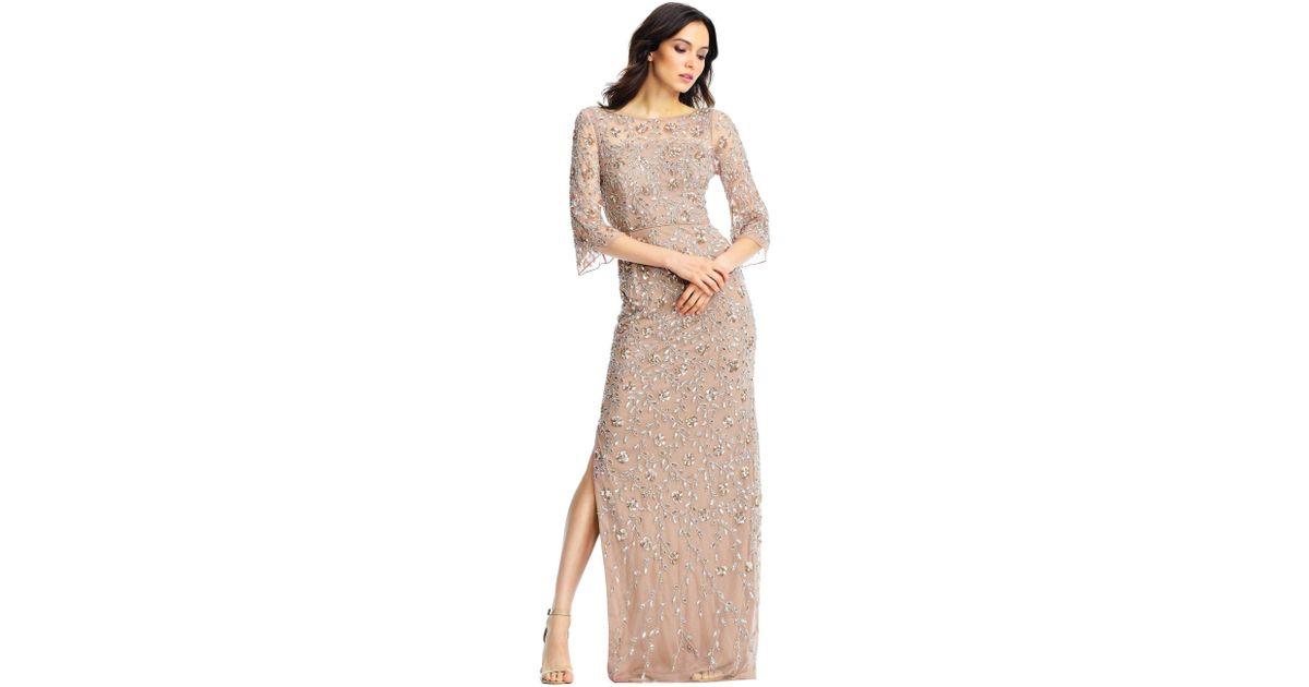 Lyst - Aidan Mattox Rose Gold Sleeve Evening Gown in Pink