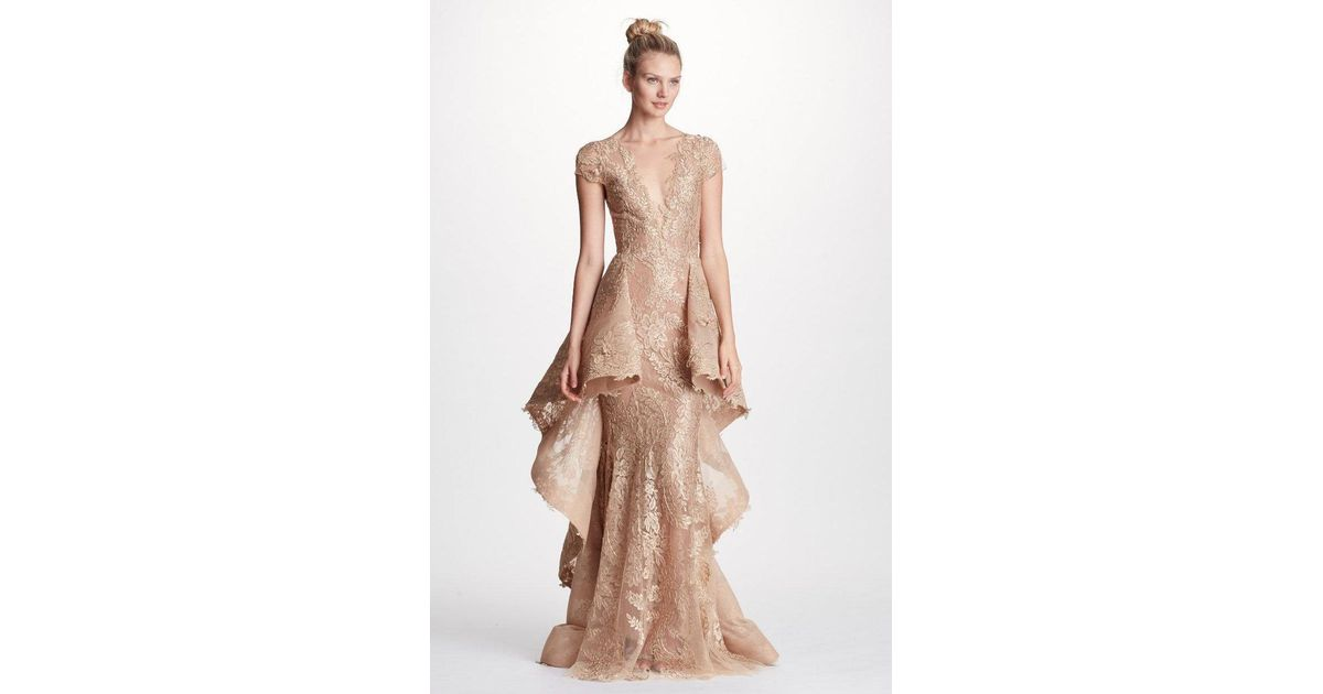 Lyst - Marchesa Couture Metallic Gold And Nude Evening Gown in Metallic