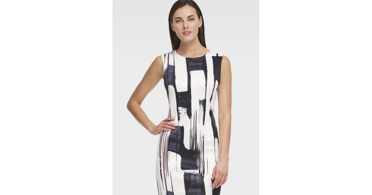 0632e3dae74 Lyst - DKNY Printed Paint Stroke Sleeveless Sheath Dress