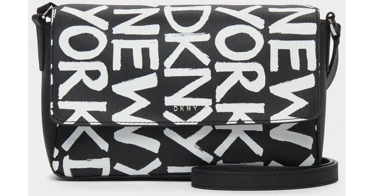 Lyst - DKNY Brayden Printed Flap Crossbody in Black ddf6dc5e61b48