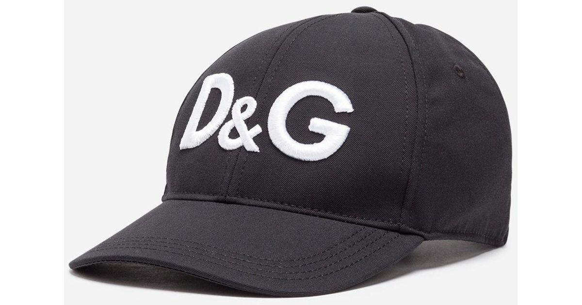 Lyst Dolce Gabbana Baseball Cap In Canvas With Logo Black For Men dcbc9e45a9f