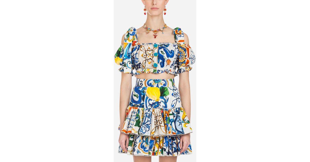 ac4872c3b43bd2 Lyst - Dolce   Gabbana Majolica-print Cotton Top in Blue