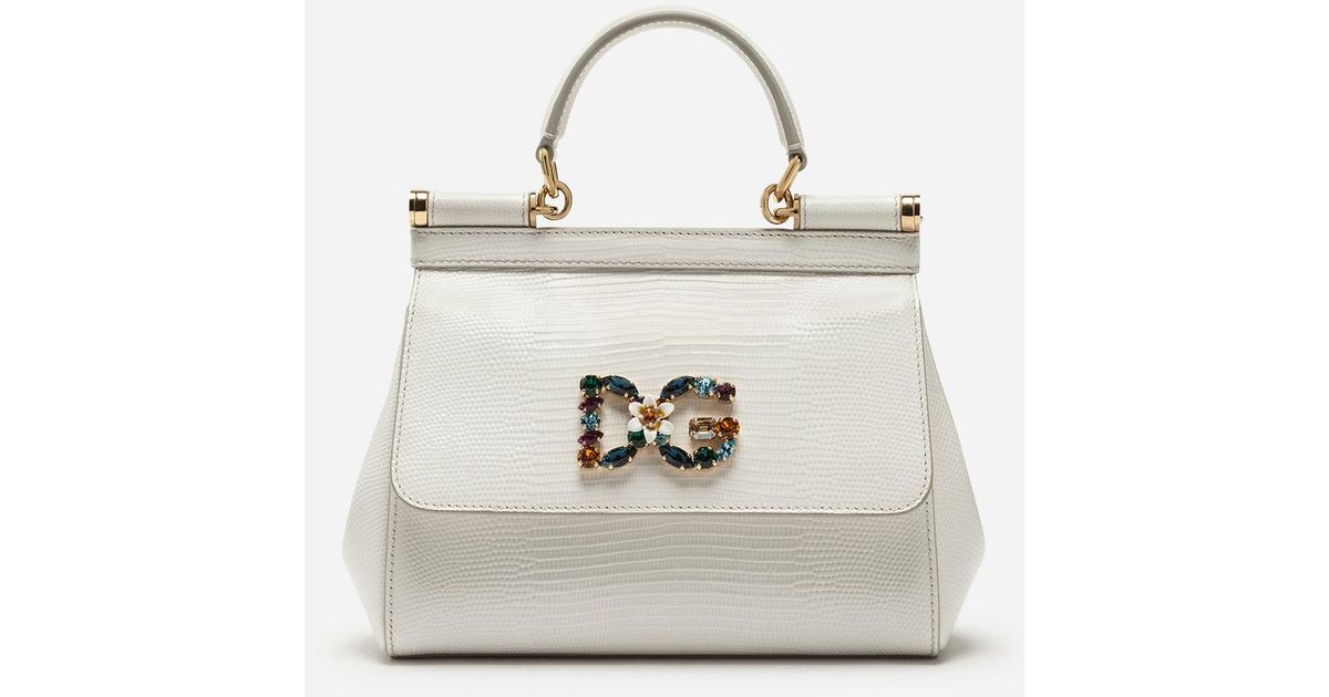 Dolce   Gabbana Small Calfskin Sicily Bag With Iguana-print And Dg Crystal  Logo Patch in White - Lyst 312d90d37a
