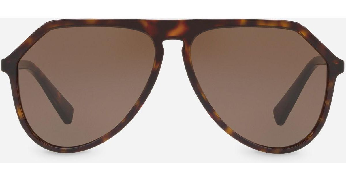 140d6595720 Dolce   Gabbana Pilot Acetate Sunglasses With Keyhole Bridge in Brown - Lyst