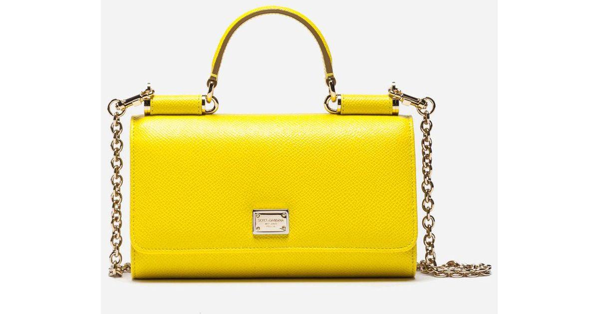 0b50981a57f Dolce & Gabbana Dauphine Leather Mini Von Bag in Yellow - Lyst