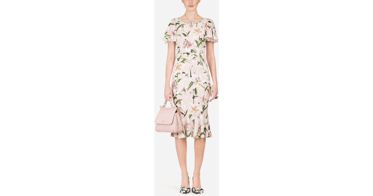 83cae1f7 Lyst - Dolce & Gabbana Lily-print Cady Midi Dress