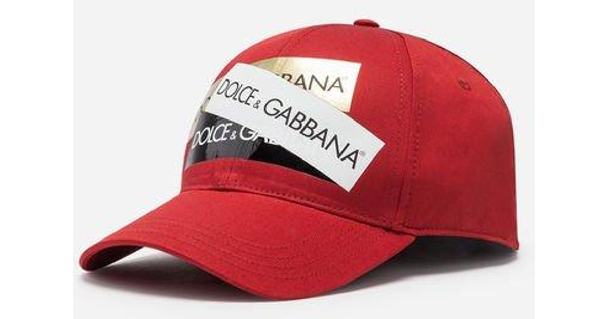 Lyst - Gorra De Béisbol De Algodón Con Bandas Termoadhesivas Dolce   Gabbana  de hombre de color Rojo 523f74ed920