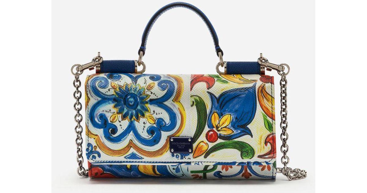 399f1ceea1 Lyst - Dolce   Gabbana Von Bag In Printed Dauphine Calfskin in Blue