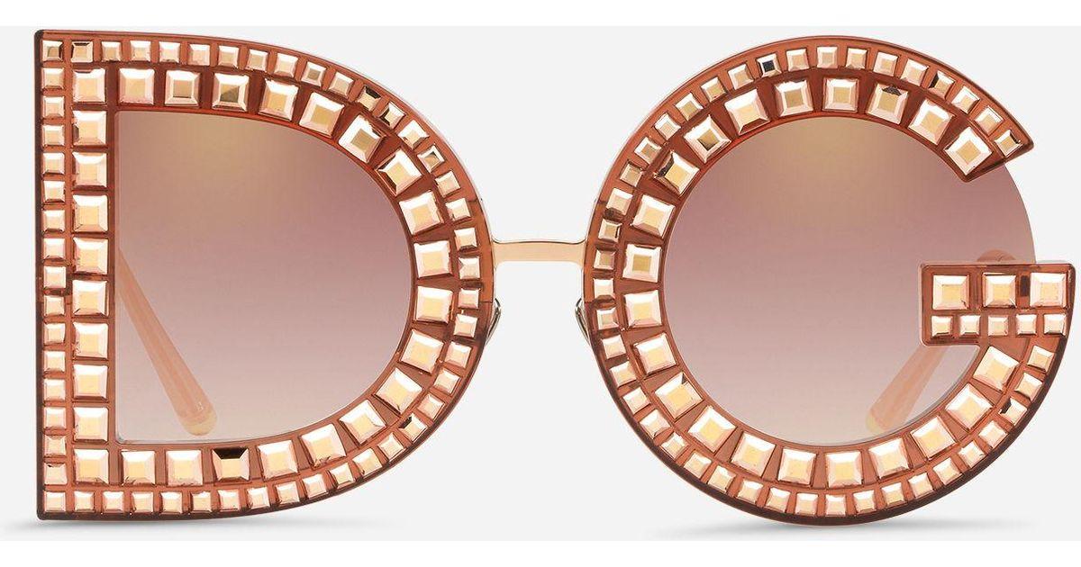 7a03178a5df Lyst - Dolce   Gabbana Dg Glitter Sunglasses in Pink