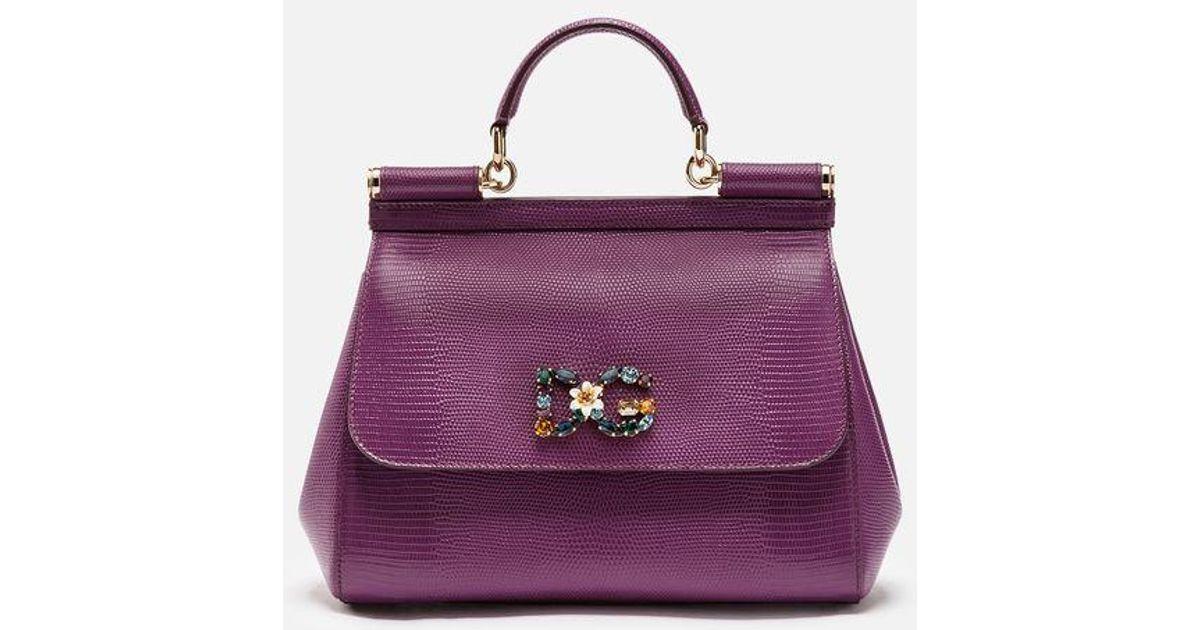 ff5737d987 Dolce & Gabbana Medium Calfskin Sicily Bag With Iguana Print And Dg Crystal  Logo Patch in Purple - Lyst