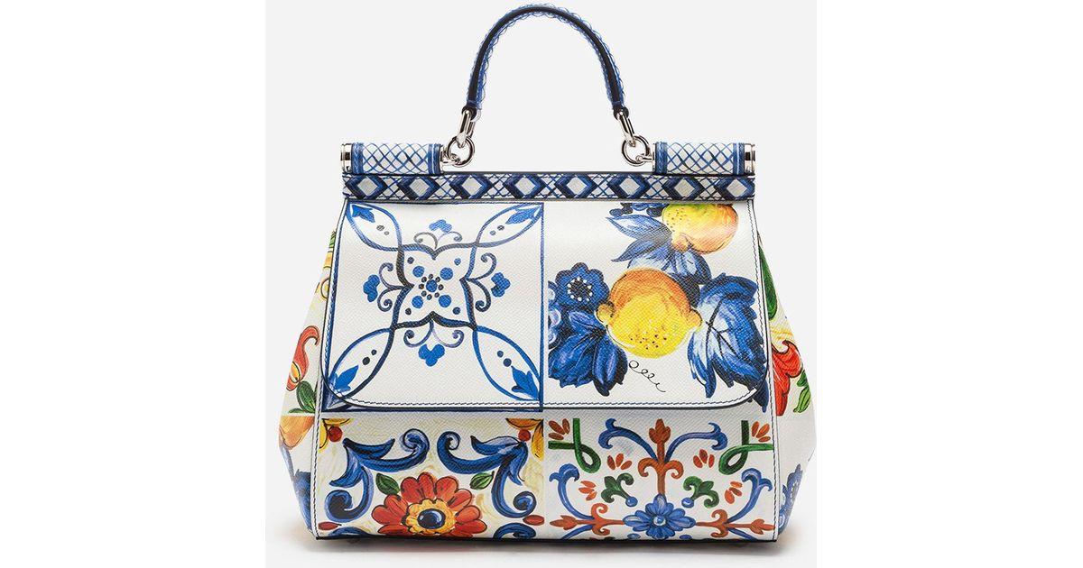 44d9711706 Lyst - Dolce   Gabbana Medium Sicily Bag In Printed Dauphine Calfskin in  Blue