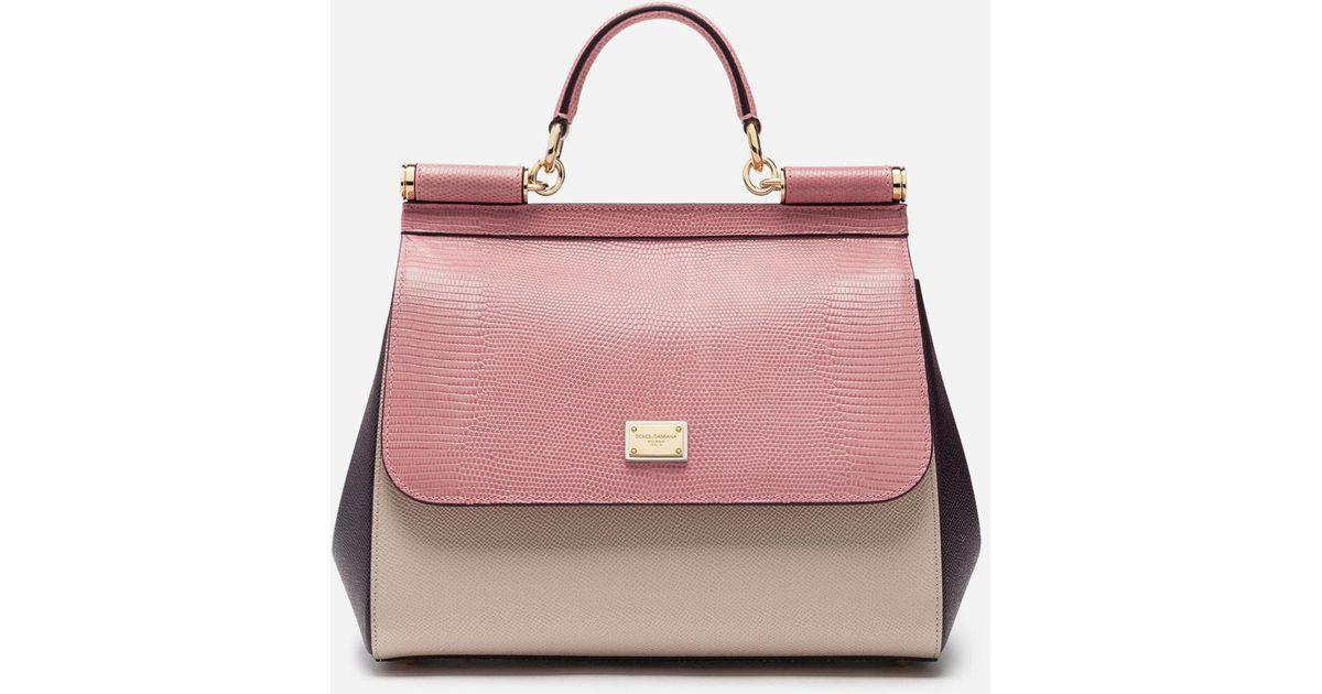 1e84142da200 Lyst - Dolce   Gabbana Medium Sicily Bag In Mix Of Materials in Pink