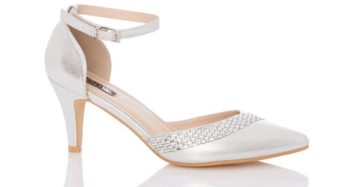 bdddc6f575b65 Dorothy Perkins Quiz Silver Diamante Low Heel Court Shoes in Metallic - Lyst