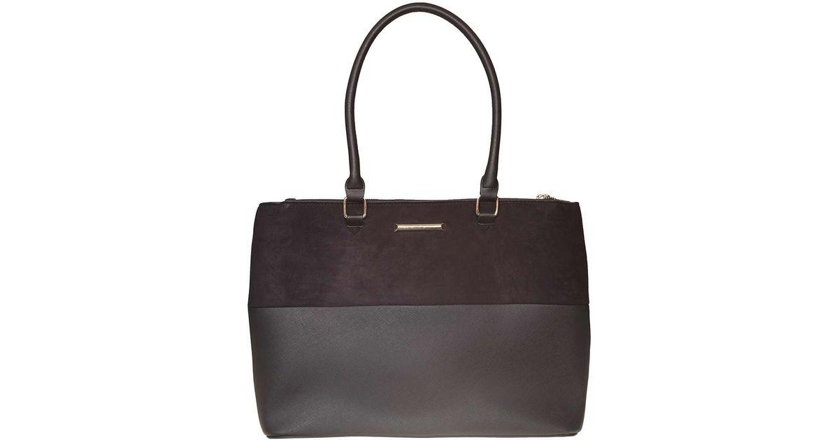 Dorothy perkins Black Double Zip Tote Bag in Black