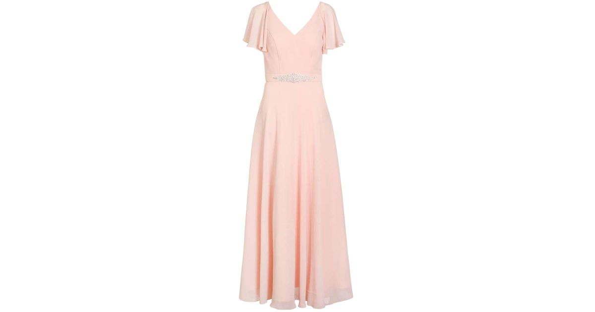 Peach chiffon v neck maxi dress