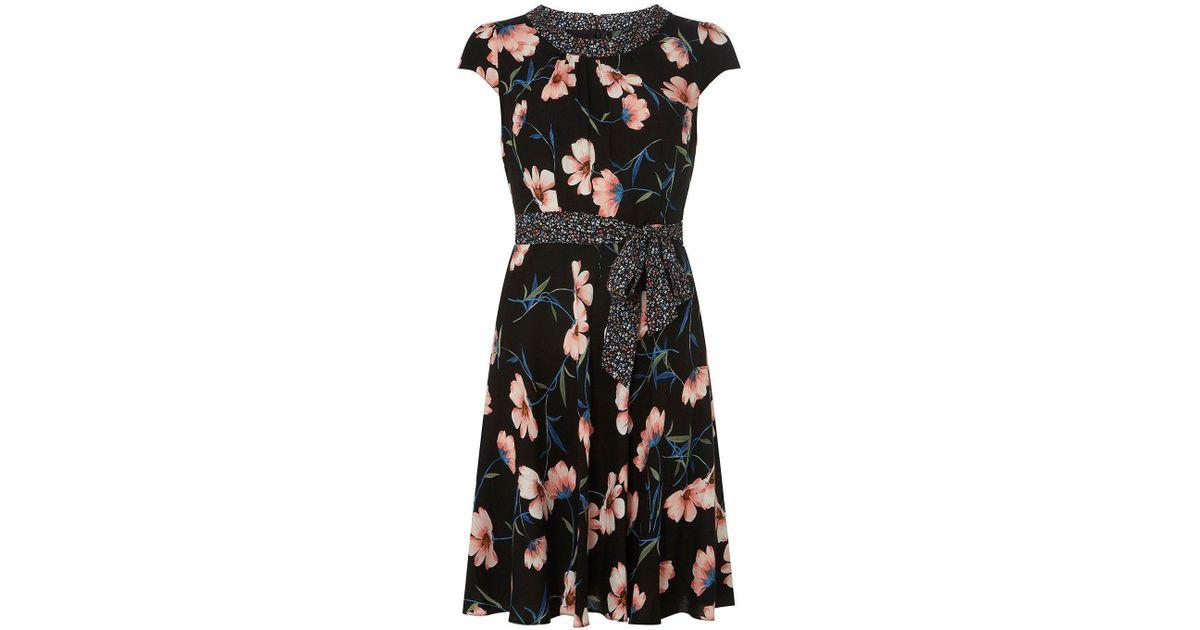 2f3a6e9639 Dorothy Perkins Billie   Blossom Petite Black Floral Skater Dress in Black  - Lyst