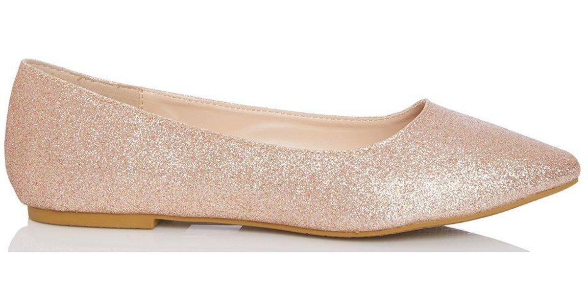 741c05dd3 Dorothy Perkins Quiz Rose Gold Glitter Pumps in Metallic - Lyst
