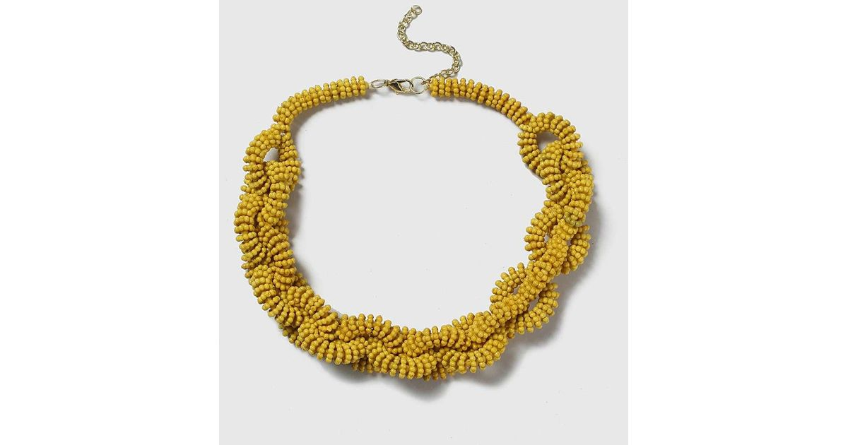 Dorothy Perkins Yellow Beaded Long Necklace Gros Pas Cher pKIN85