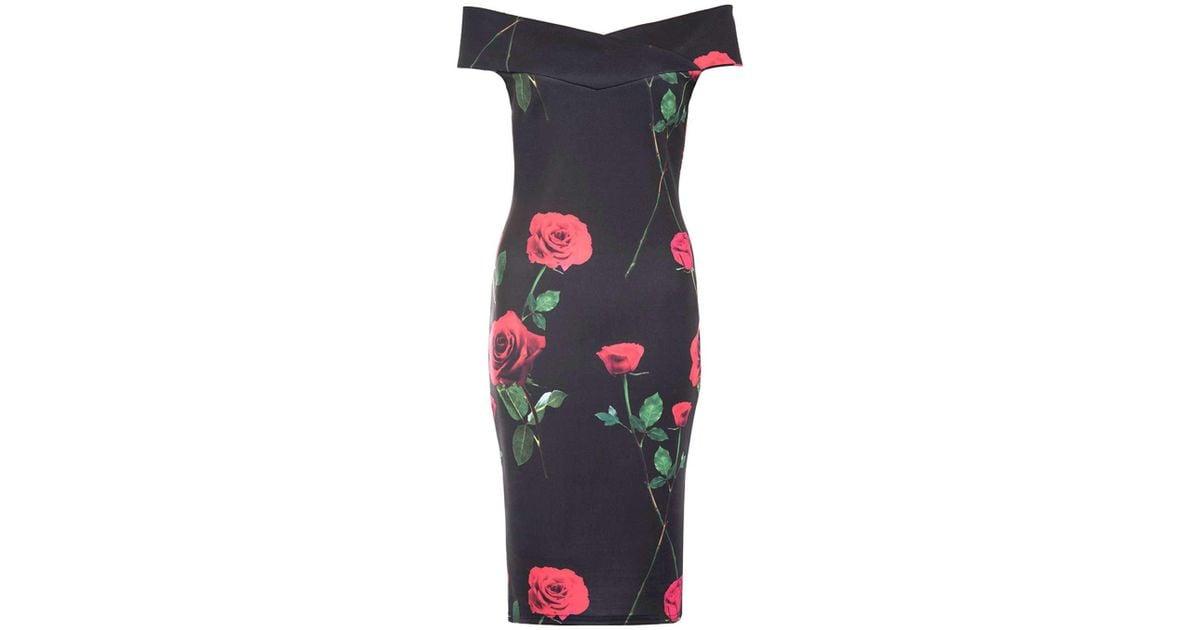 c1d1bd78022d Dorothy Perkins Quiz Multi Coloured Rose Print Bardot Midi Dress in Black -  Lyst